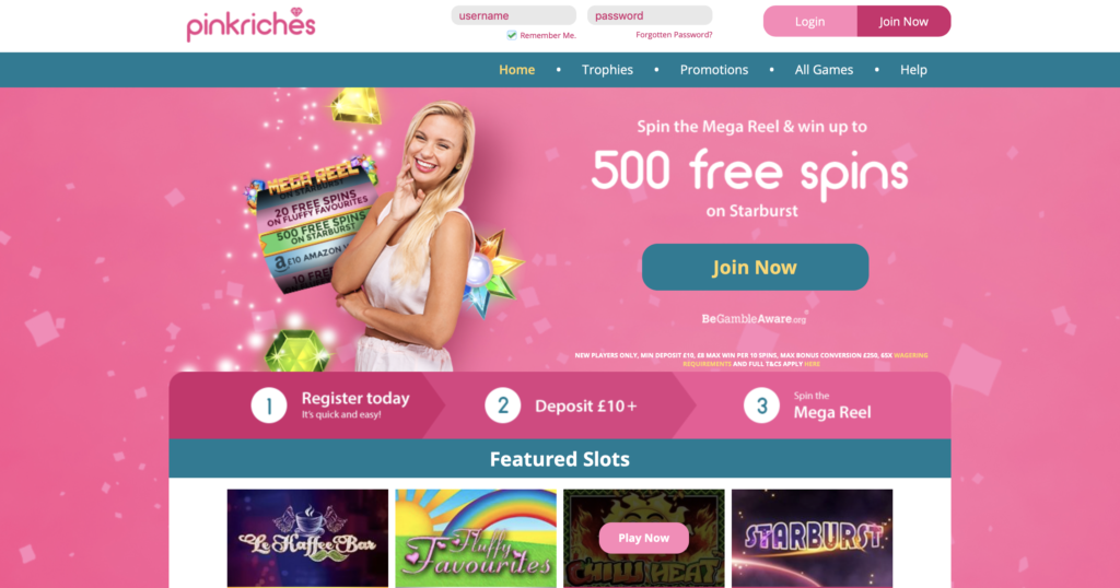 play slots online at pink riches