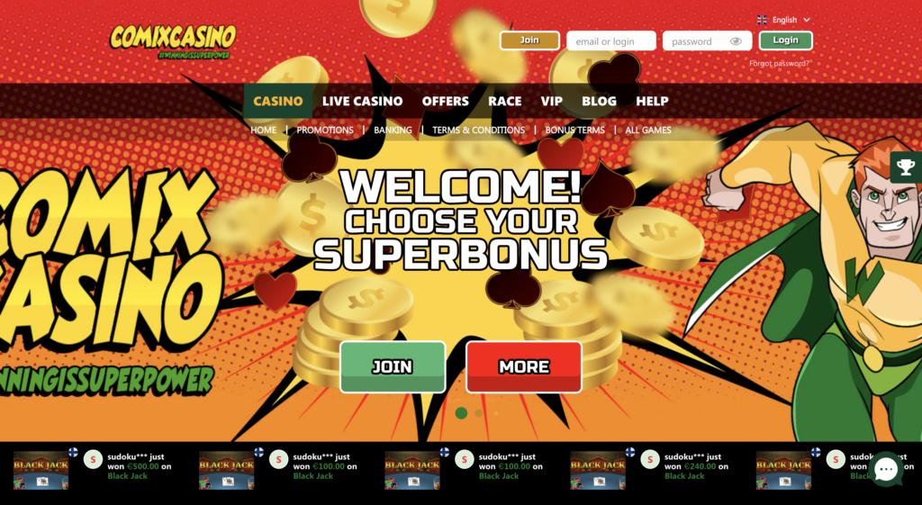 comix casino review