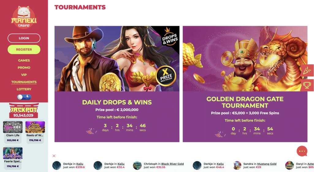 Maneki Casino Tournaments Page