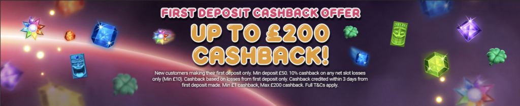 slotty slots first deposit cashback offer