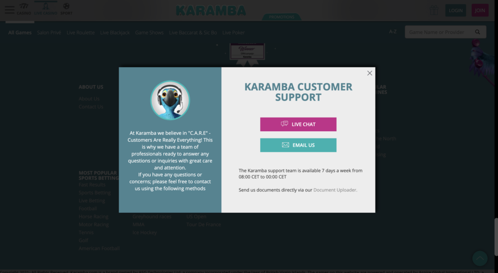karamba casino support
