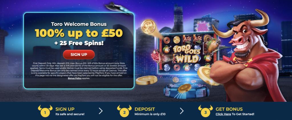 PlayToro 100% Casino Bonus Offer